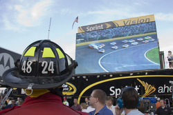 NASCAR fire man watches a wreck on the Sprint Vision screen