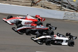 Richard Antinucci, J.R. Hildebrand, and James Davison going three-wide into turn one