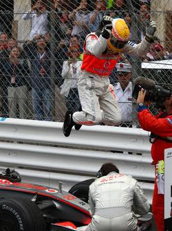 1st place Lewis Hamilton, McLaren Mercedes jumps from his car