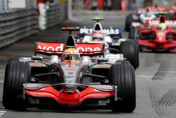 Lewis Hamilton, McLaren Mercedes leads Robert Kubica,  BMW Sauber F1 Team and Felipe Massa, Scuderia Ferrari