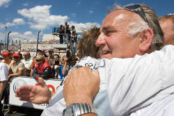 Race winner Jamie Green celebrates with his father