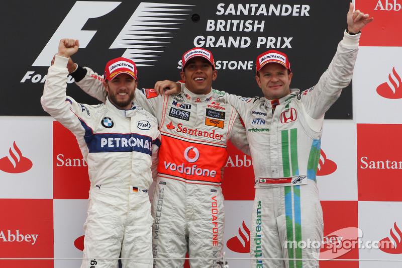 2008: 1. Lewis Hamilton, 2. Nick Heidfeld, 3. Rubens Barrichello