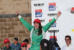 Victory lane: race winner Ana Beatriz celebrates