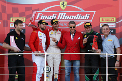Podio Carrera 2 Pirelli EU, de izquierda a derecha: segundo #84 Octane 126 Ferrari 458: Bjorn Grossmann primero #55 Scuderia Autoropa Ferrari 458: Babalus, Lapo Elkann e #46 Octane 126 Ferrari 458: Max Balncardi tercero