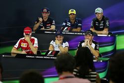 FIA persconferentie: Max Verstappen, Scuderia Toro Rosso; Felipe Nasr, Sauber F1 Team; Nico Hulkenbe