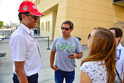 Juan Pablo Montoya? with J. Anand, Head of operations of Team MRF