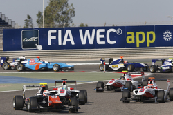 Luca Ghiotto, Trident leads Alfonso Celis Jr., ART Grand Prix and Esteban Ocon, ART Grand Prix