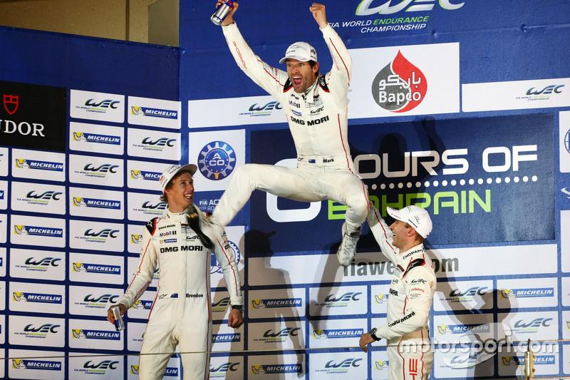 7. 2015 champions Mark Webber, Brendon Hartley, Timo Bernhard, Porsche Team