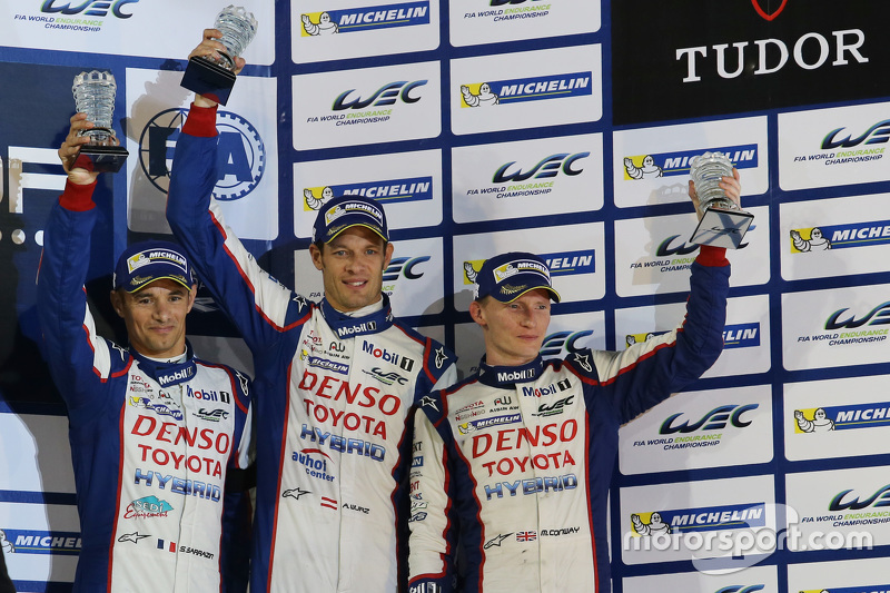 Podium: third place Alexander Wurz, Stéphane Sarrazin, Mike Conway, Toyota Racing