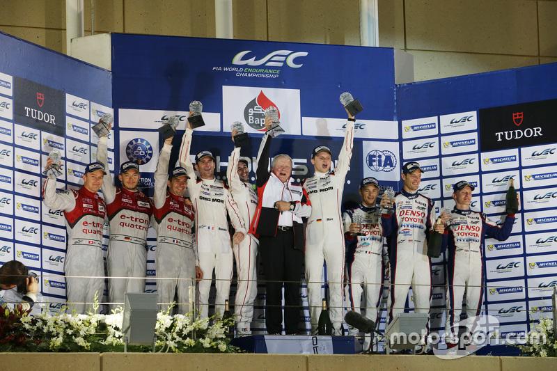 Podium: overall winners Romain Dumas, Neel Jani, Marc Lieb, Porsche Team, second place Marcel Fässle