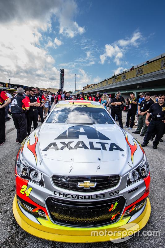 Auto van Jeff Gordon, Hendrick Motorsports Chevrolet opgesteld voor de technische keuring