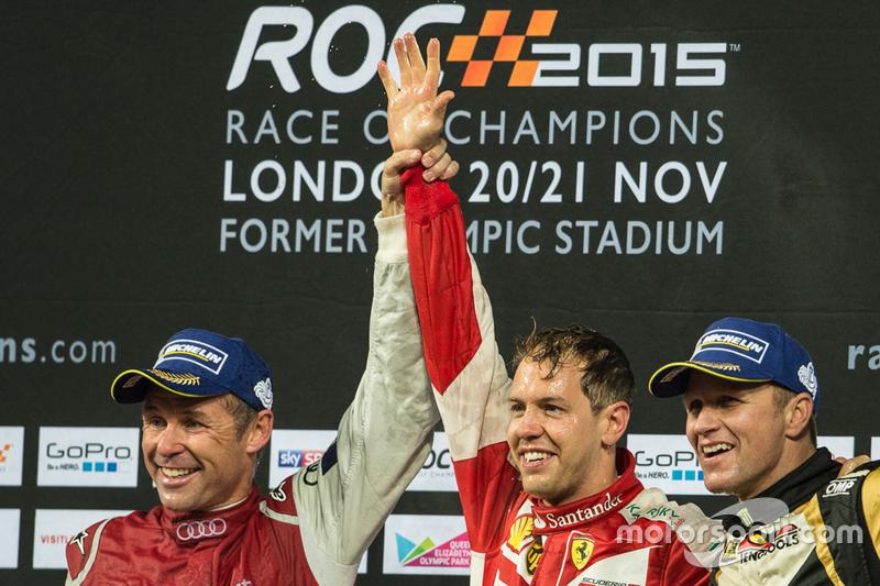 Ganador Sebastian Vettel, segundo lugar Tom Kristensen, y el tercer lugar Petter Solberg