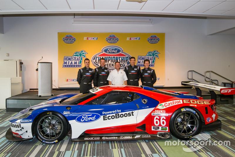 Chip Ganassi Racing, Ford GTLM, die Fahrer für IMSA und Le Mans 2016: Dirk Müller, Joey Hans, RIchard Westbrook und Ryan Briscoe mit Dave Pericak