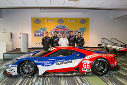 Chip Ganassi Racing Ford GTLM drivers for IMSA and Le Mans: Dirk Müller, Joey Hand, Richard Westbrook and Ryan Briscoe with Dave Pericak from Ford