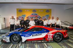 Chip Ganassi Racing Ford GTLM rijders voor IMSA en Le Mans: Dirk Müller, Joey Hand, Richard Westbroo