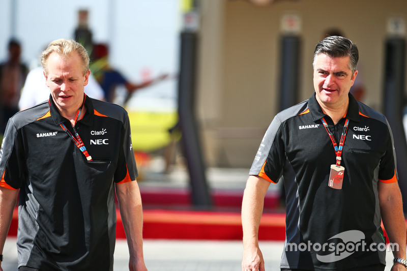 Andrew Green, Sahara Force India F1 Team, Technischer Direktor, mit Andy Stevenson, Sahara Force India F1 Team, Teammanager