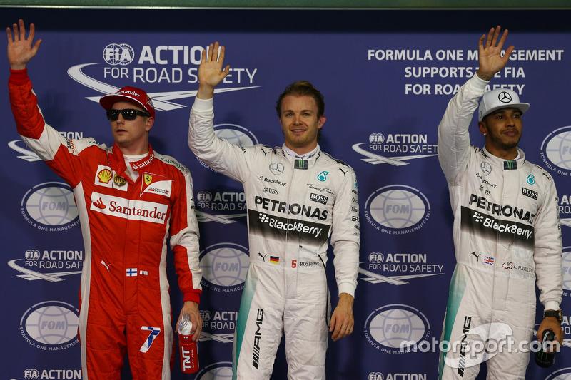 3. Kimi Räikkönen, Ferrari; 1. Nico Rosberg, Mercedes AMG F1 Team; 2. Lewis Hamilton, Mercedes AMG F