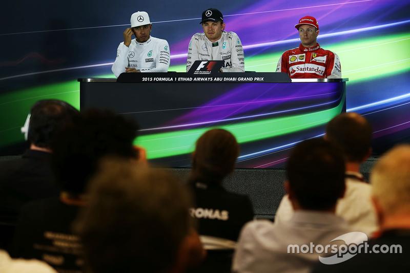 Die FIA-Pressekonferenz: 1. Nico Rosberg, Mercedes AMG F1 Team; 2. Lewis Hamilton, Mercedes AMG F1 Team; 3. Kimi Räikkönen, Ferrari