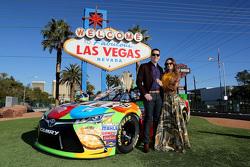 2015 NASCAR Sprint Cup Series champion Kyle Busch, Joe Gibbs Racing Toyota with wife Samantha