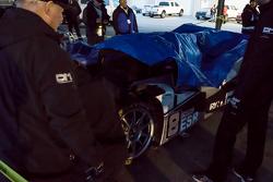 The crashed #8 Ryno Racing Team Ginetta LMP3
