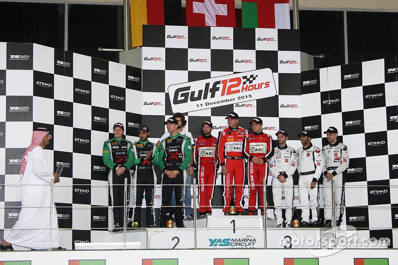 Podium: winners #11 Kessel Racing Ferrari 458 Italia: Davide Rigon, Andrea Piccini, Michael Bronisze