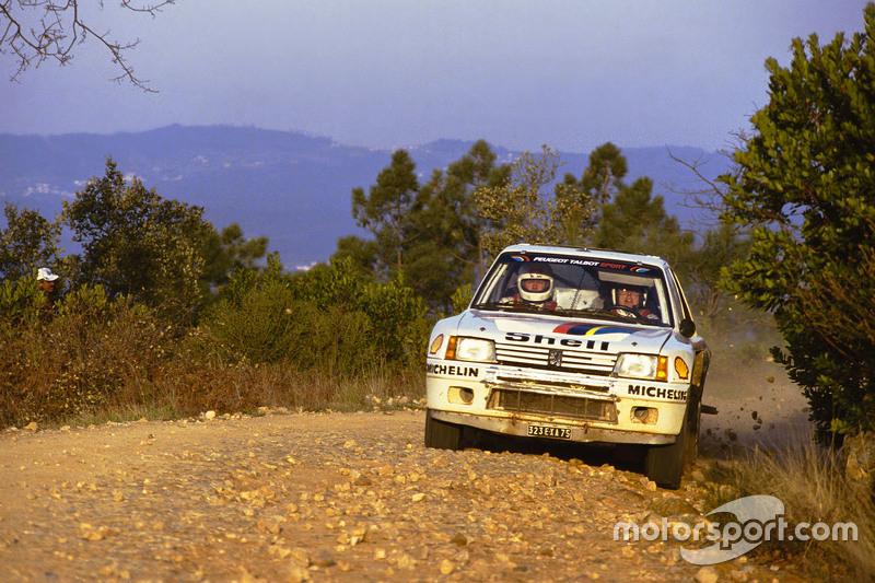 Timo Salonen sur une Peugeot 205 T16 lors du Rallye du Portugal 1985