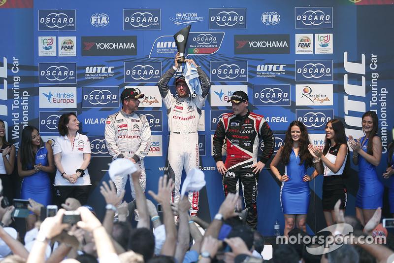 Podium: race winner Jose Maria Lopez, Citroën World Touring Car team, second place Sébastien Loeb, Citroën World Touring Car team, third place Norbert Michelisz, Zengo Motorsport