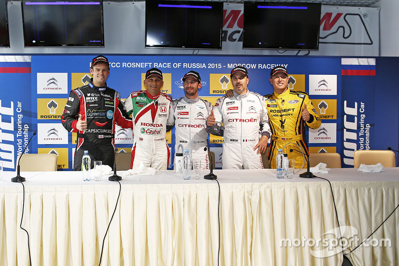Press conference: Tom Chilton, Chevrolet RML Cruze TC1, ROAL Motorsport, Gabriele Tarquini, Honda Civic WTCC, Honda Racing Team JAS, Jose Maria Lopez, Citroën C-Elysee WTCC, Citroën World Touring Car team, Yvan Muller, Citroën C-Elysee WTCC, Citroën World Touring Car team and Rob Huff, Lada Vesta WTCC, Lada Sport Rosneft