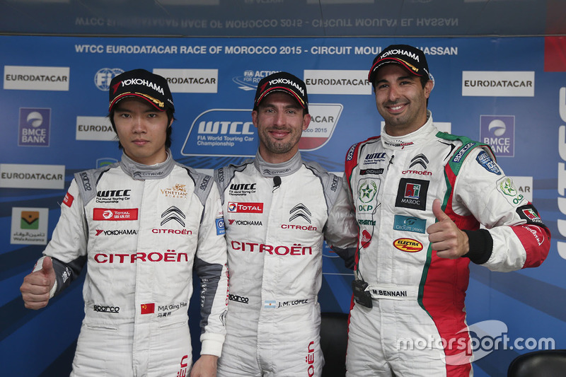Polesitter: Jose Maria Lopez, Citroën C-Elysee WTCC, Citroën World Touring Car team, Ma Qing Hua, Citroën C-Elysée WTCC, Citroën World Touring Car team and Mehdi Bennani, Citroën C-Elysee WTCC, Sébastien Loeb Racing