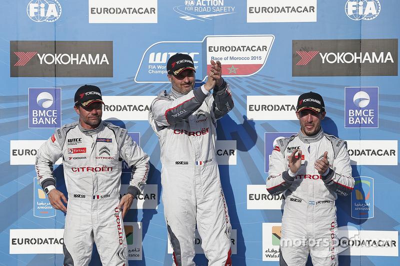 Podium: winner Yvan Muller, Citroën C-Elysee WTCC, Citroën World Touring Car team, second place Séba