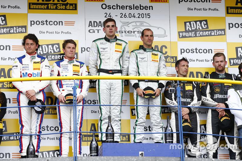 Podium, 2nd Sebastian Asch, Luca Ludwig, Team Zakspeed Mercedes-Benz SLS AMG GT3, 1st Jereon Bleekemolen, Luca Stolz, Bentley Team HTP Bentley Continental GT3, 3rd Harald Proczyk, Andreas Simonsen, HP Racing Mercedes-Benz SLS AMG GT4