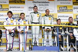 Подіум, друге місце - Себастіан Аш, Лука Людвіг, Team Zakspeed Mercedes-Benz SLS AMG GT3, перше місце - Йерун Блекемолен, Лука Штольц, Bentley Team HTP Bentley Continental GT3, третє місце - Харальд Прошик, Андреас Симонсен, HP Racing Mercedes-Benz SLS AMG GT3