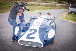 Bruno Senna, Mahindra Racing drives a classic race car during a visit to Juan Manuel Fangio's home and museum
