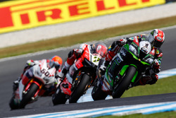 Jonathan Rea, Kawasaki Racing Team; Chaz Davies, Aruba.it Racing - Ducati Team und Michael van der Mark, Honda WSBK Team