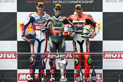 Podium: 2. Michael van der Mark, Honda WSBK Team; 1. Jonathan Rea, Kawasaki Racing Team;  3.  Davide Giugliano, Aruba.it Racing - Ducati Team