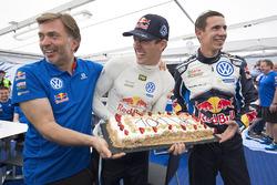 Sébastien Ogier, Julien Ingrassia, Volkswagen Polo WRC, Volkswagen Motorsport celebrate 100 WRC rallies