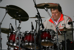 Norbert Haug, Mercedes, Motorsport chief playing the drums