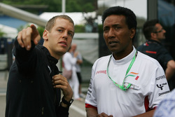 Sebastian Vettel, Scuderia Toro Rosso and Balbir Singh, Force India F1 Team