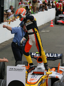 Second place Nelson A. Piquet celebrates