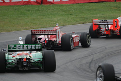 Scott Dixon sandwiched by Helio Castroneves and Tony Kanaan