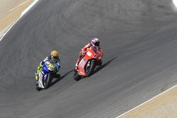 Casey Stoner leads Valentino Rossi