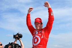 Race winner Scott Dixon celebrates