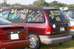 A NASCAR fans van covered in writing in honor of Allstate 400 At The Brickyard