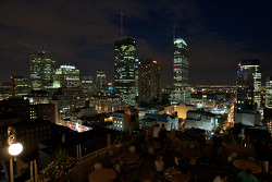 A view of the Montreal skyline from a rooftop nightclub