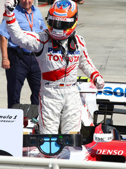 Second place Timo Glock celebrates