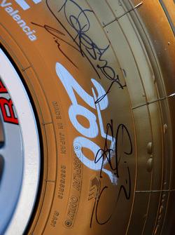 Gold Bridgestone Tyre, celebrating their 200th Grand Prix