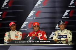 FIA press conference: race winner Felipe Massa, second place Lewis Hamilton, third place Robert Kubica