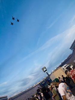 A flight of F-18's perform a flyover