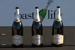Podium: bottles of champagne ready for the celebrations