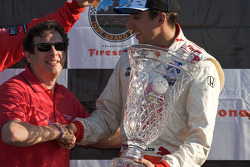 Podium: race winner Justin Wilson
